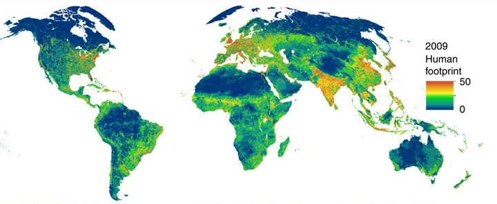 This map shows the impact of human beings on the Earth's land surface. Shades of blue indicate wilder areas, while shades of