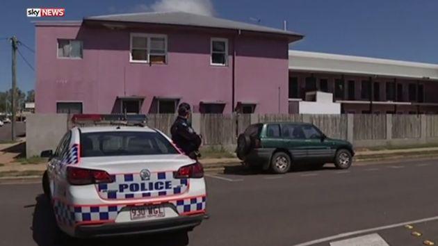 Police guard the scene in