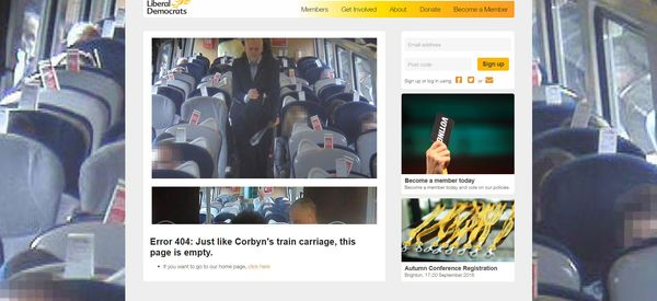 You Know #Traingate Is Bad For Corbyn When Even The Lib Dems Are Trolling Him
