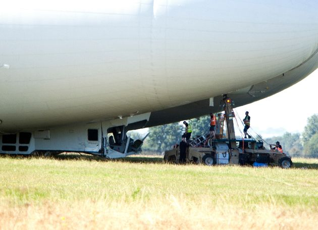 The airship suffered damage to its cockpit during the slow speed crash