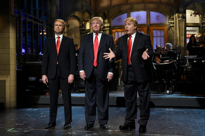 "Taran Killam, Donald Trump and Darrell Hammond perform the monologue on a November 2015 episode of ""Saturday Night Live."""