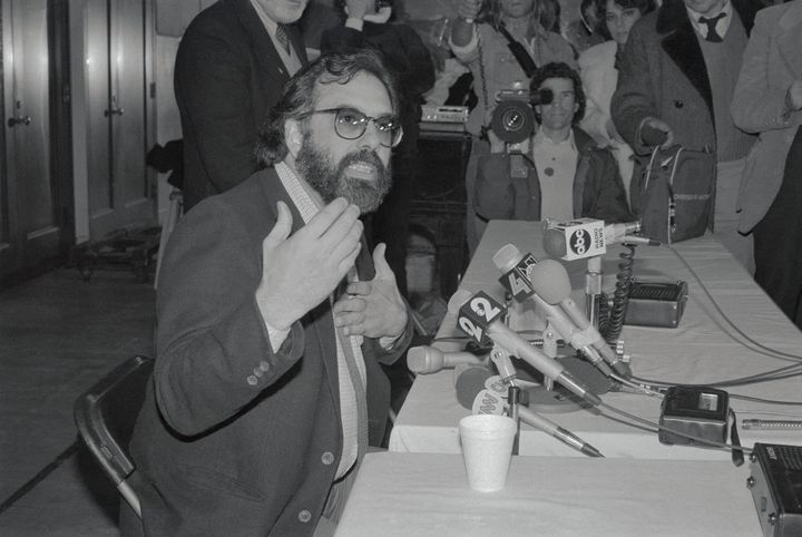 "Francis Ford Coppola speaks at a contentious ""One From the Heart"" press conference in 1982."