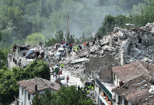A general view of Pescara del Tronto destroyed by the earthquake.