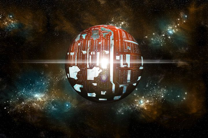 Artist's depiction of a Dyson sphere, a theoretical structure built around a star to capture its energy.