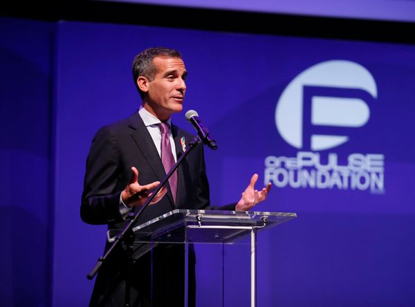 IMAGE DISTRIBUTED FOR ONEPULSE FOUNDATION - Los Angeles Mayor Eric Garcetti speaks at  onePULSE: A Benefit for Orlando at Neu