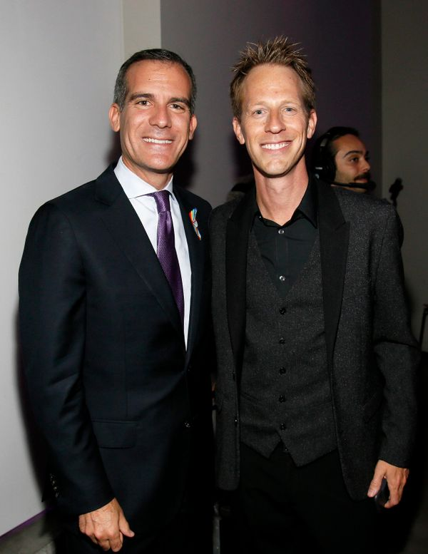 Los Angeles Mayor Eric Garcetti, left, and Jason Felts, Virgin Produced CEO, attend onePULSE: A Benefit for Orlando at NeueHo