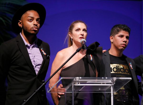 IMAGE DISTRIBUTED FOR ONEPULSE FOUNDATION - Barbara Poma, center, and survivors speak at onePULSE: A Benefit for Orlando at N