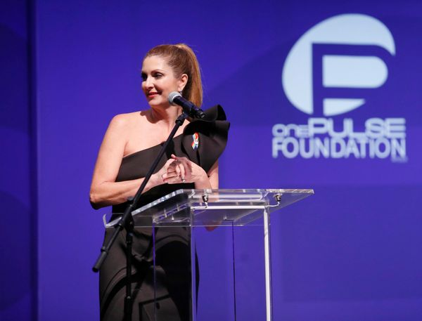 Barbara Poma speaks at onePULSE: A Benefit for Orlando at NeueHouse Hollywood on Friday, Aug. 19, 2016, in Los Angeles. (Phot