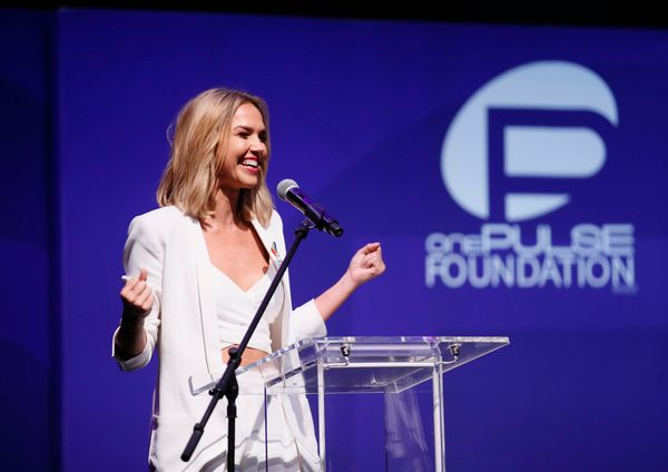Arielle Kebbel speaks at onePULSE: A Benefit for Orlando at NeueHouse Hollywood on Friday, Aug. 19, 2016, in Los Angeles. (Ph