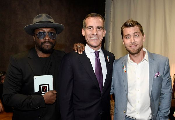 will.i.am, from left, Los Angeles Mayor Eric Garcetti and Lance Bass attend onePULSE: A Benefit for Orlando at NeueHouse Holl