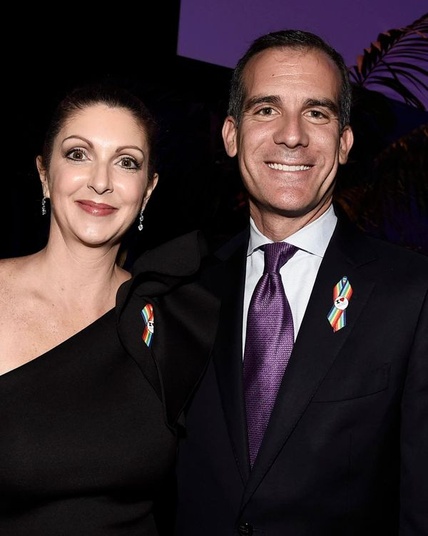 Barbara Poma, left, and Los Angeles Mayor Eric Garcetti attend onePULSE: A Benefit for Orlando at NeueHouse Hollywood on Frid