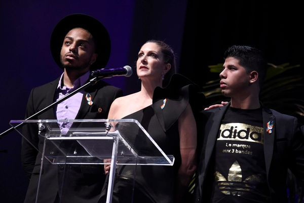 Barbara Poma, center, and survivors speak at onePULSE: A Benefit for Orlando at NeueHouse Hollywood on Friday, Aug. 19, 2016,