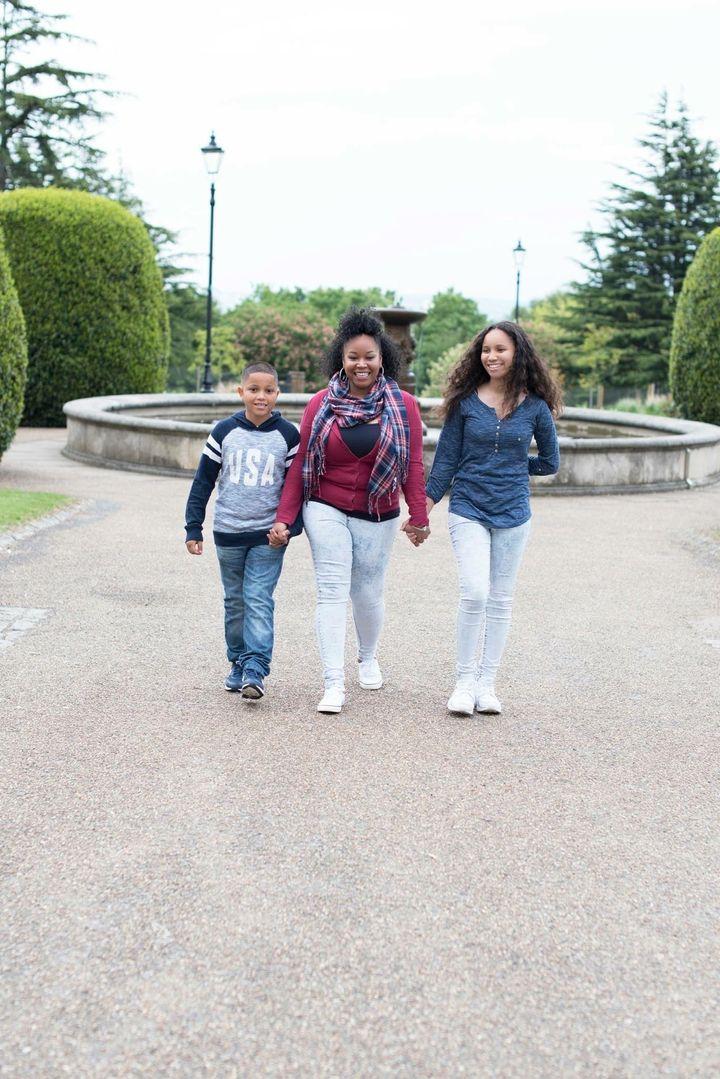 Nicola Dady with her children Corey andShenai