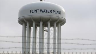 The top of the Flint Water Plant tower is seen in Flint, Michigan February 7, 2016.   REUTERS/Rebecca Cook/Files
