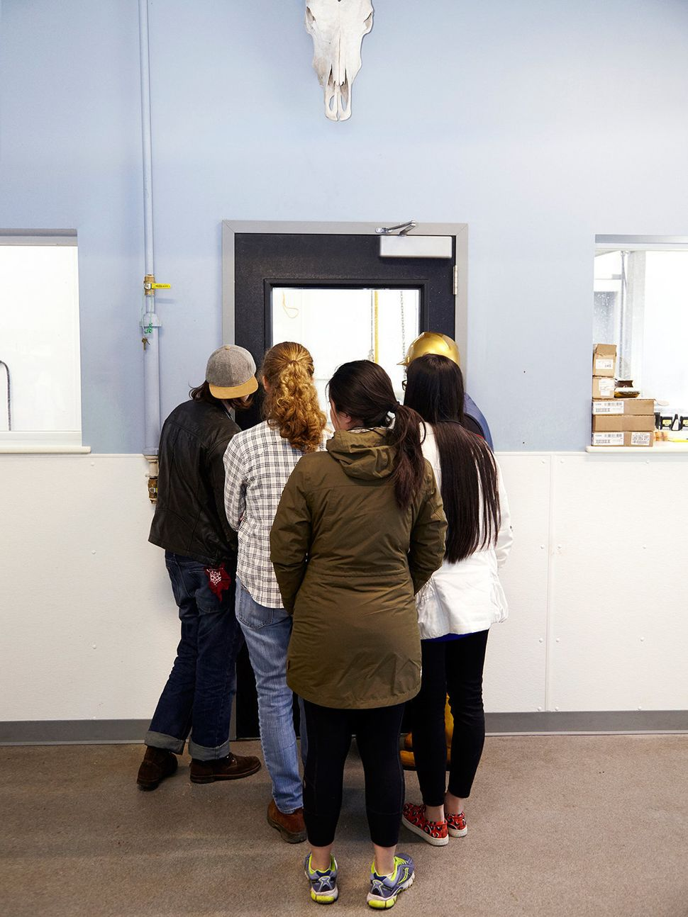 A group of college students line up while on a tour of Vermont Packinghouse.