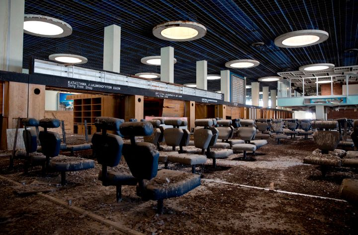 The passenger departure area at Nicosia International Airport is