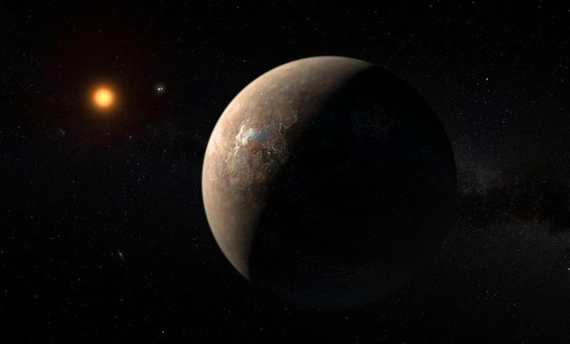 An artist's impression of the planet Proxima b orbiting the red dwarf star Proxima Centauri the...