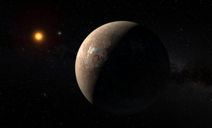 An artist'simpression of the planet Proxima b orbiting the red dwarf star Proxima Centauri the closest star to our sola