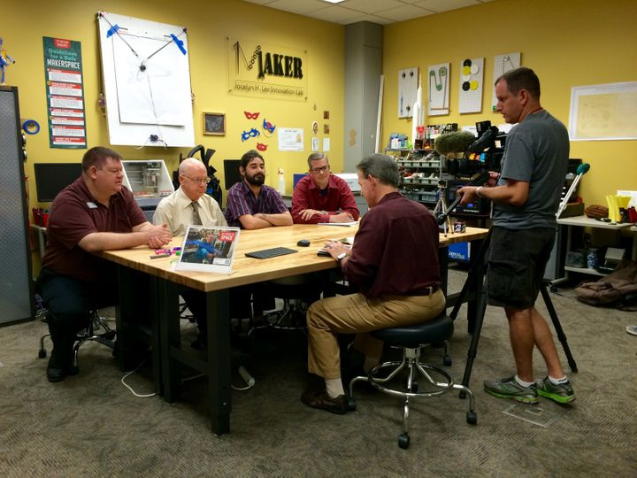 Patrick Ferrell and volunteers Mike Craig, Robert Bannon and John Colborn were interviewed about Katelyn's 3D-printed prosthe