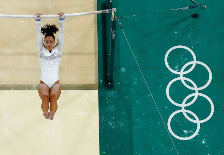 Gebeshian competes on the uneven bars in Rio.