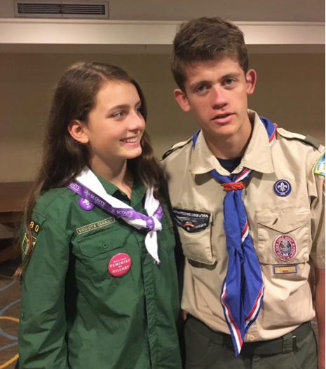Sydney is seen with her brother, Bryan Ireland, who recently earned the Boy Scouts highest Eagle rank.