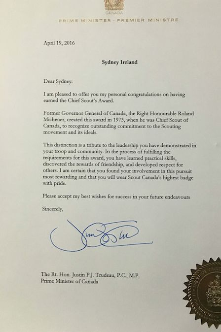 In April, Sydney received a signed letter from Canadian Prime Minister Justin Trudeau who lauded her accomplishments in Canada's scouting program.