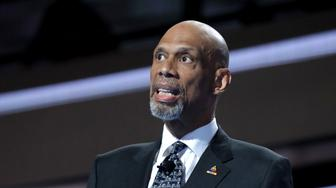 PHILADELPHIA, PA - JULY 28:  Retired professional basketball player Kareem Abdul-Jabbar delivers remarks attends on the fourth day of the Democratic National Convention at the Wells Fargo Center, July 28, 2016 in Philadelphia, Pennsylvania. Democratic presidential candidate Hillary Clinton received the number of votes needed to secure the party's nomination. An estimated 50,000 people are expected in Philadelphia, including hundreds of protesters and members of the media. The four-day Democratic National Convention kicked off July 25.  (Photo by Chip Somodevilla/Getty Images)