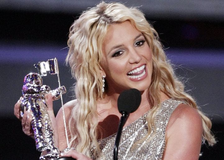 "Britney Spears wins Best Pop Video for ""Piece of Me"" at the 2008 MTV Video Music Awards."