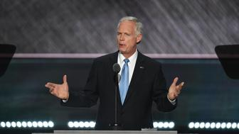 US Senator Ron Johnson speaks during the second day of the Republican National Convention at the Quicken Loans Arena in Cleveland on July 19, 2016. / AFP / JIM WATSON        (Photo credit should read JIM WATSON/AFP/Getty Images)