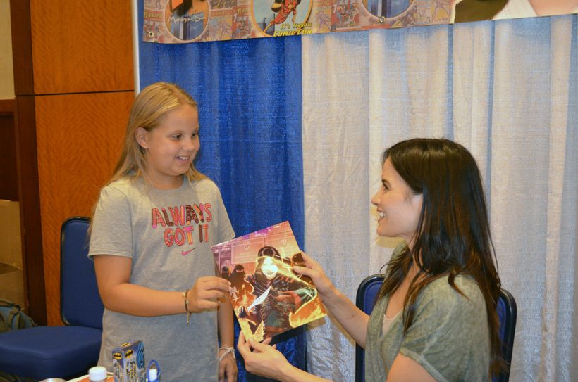 Katrina Law from <i>Arrow</i> greets fan at <i>TerrifiCon</i> at Mohegan Sun
