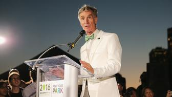 NEW YORK, NY - AUGUST 22: Bill Nye speaks onstage during the National Park Foundation's #FindYourPark event, celebrating the National Park Service's centennial at Brooklyn Bridge Park on August 22, 2016 in New York City.  (Photo by Neilson Barnard/Getty Images for National Park Service)