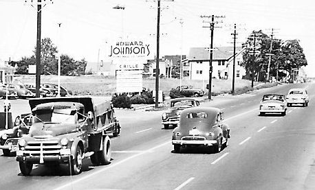Cars pass a Howard Johnson location in South Portland in the 1950s. This location, built in 1938, closed in 1985.