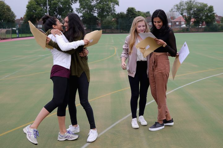 Girls from Withington Girls' School in Manchester receiving their results on Thursday 25 August 2016.