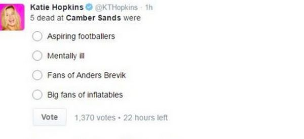Katie Hopkins 'Incredibly Insensitive' Camber Sands Tweet Sparks Police To Complain