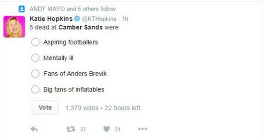 Katie Hopkins tweeted a poll asking her followers to choose one of five phrases that best described the...