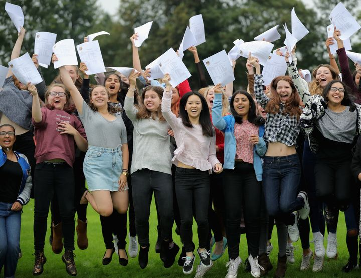 Pupils receiving their GCSE results on Thursday 25 August 2016.