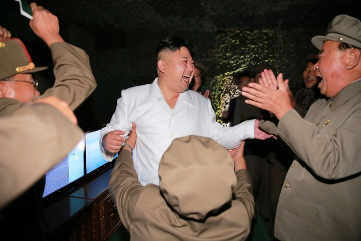 North Korean leader Kim Jong Un is pictured during a test-fire of strategic submarine-launched ballistic missile.