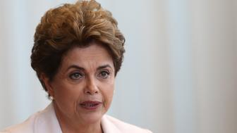 FILE PHOTO - Brazil's suspended President Dilma Rousseff reads a letter to the country in Alvorada Palace in Brasilia, Brazil, August 16, 2016. REUTERS/Adriano Machado/File Photo