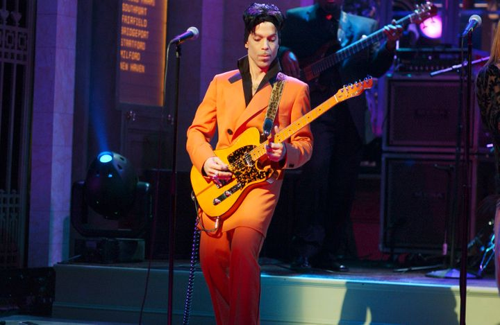 "Prince performs on a February 2006 episode of ""Saturday Night Live."""