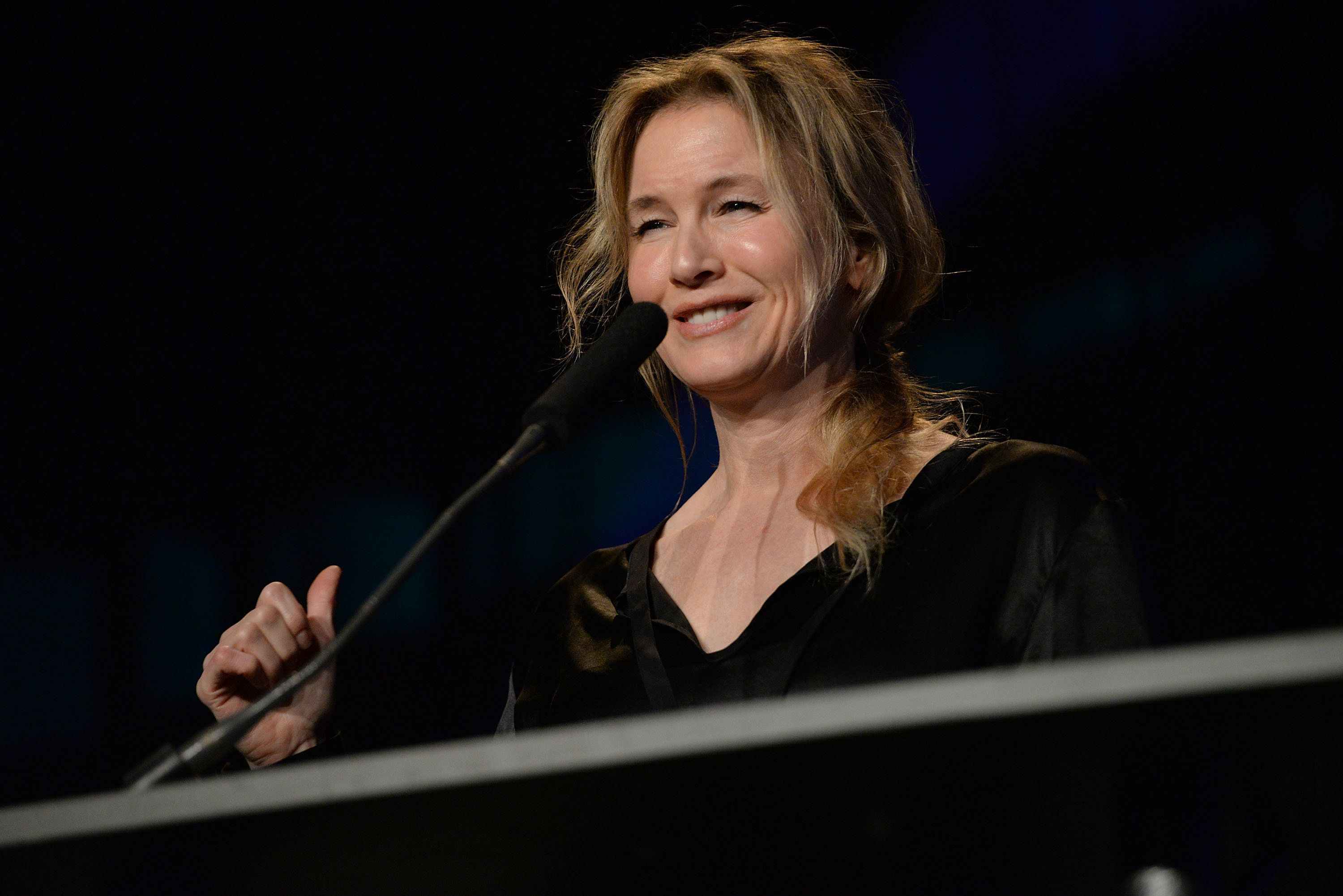 AUSTIN, TX - MARCH 16:  Actress Renee Zellweger presents onstage at the Austin Music Awards on March 16, 2016 in Austin, Texas.  (Photo by Scott Dudelson/Getty Images)