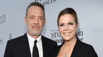 LOS ANGELES, CA - APRIL 13:  Actors Tom Hanks (L) and Rita Wilson attend the launch of the Parker Institute for Cancer Immunotherapy, an unprecedented collaboration between the country's leading immunologists and cancer centers on April 13, 2016 in Los Angeles, California.  (Photo by Kevin Mazur/Getty Images for Parker Media)