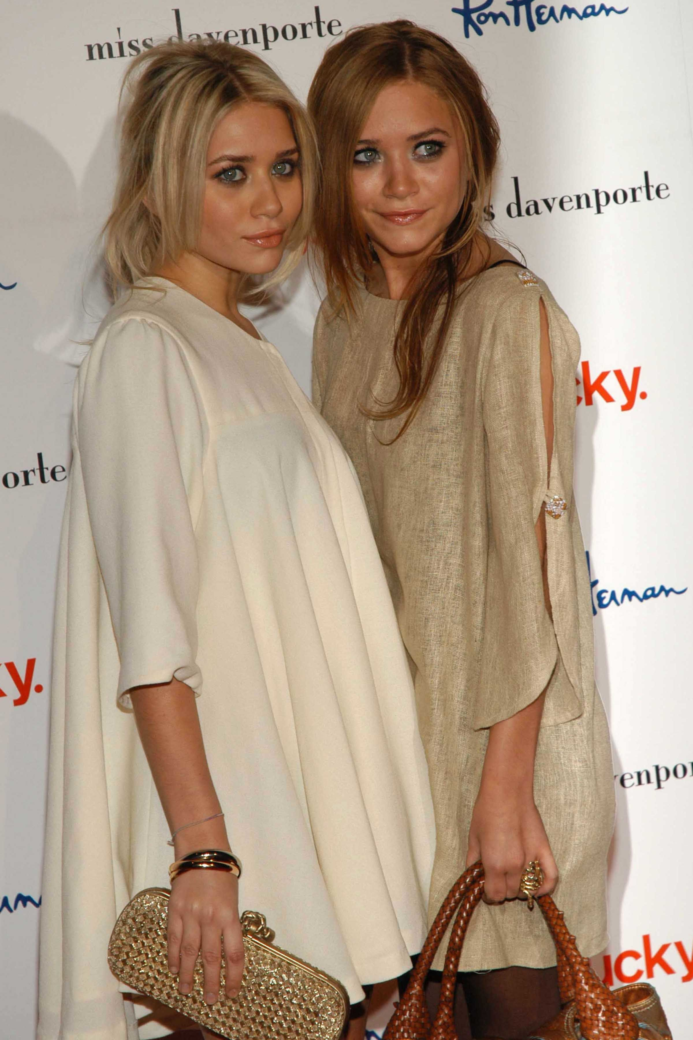 HOLLYWOOD, CA - NOVEMBER 17: Ashley Olsen and Mary-Kate Olsen attend Lucky Magazine and Ron Herman host a cocktail party and trunk show for Miss Davenporte-Arrivals at Fred Segal on November 17, 2005 in Hollywood, CA. (Photo by Stefanie Keenan/Patrick McMullan via Getty Images)