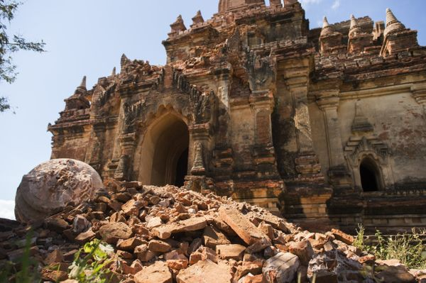 The damaged ancient Myauk Guni Temple is pictured here.
