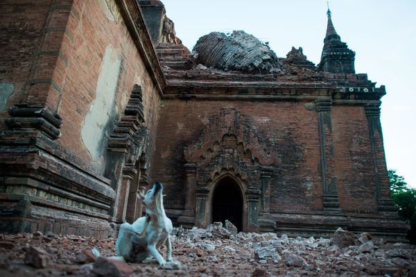 Collapsed walls are seen surrounding the ancient pagoda of Sulamani after a 6.8 magnitude earthquake hit Bagan, on August 25,