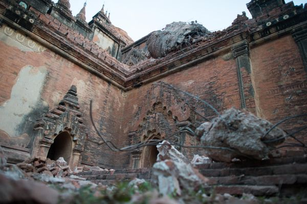 Collapsed walls are seen at the ancient pagoda of Sulamani on August 25, 2016 after a 6.8 magnitude earthquake hit Bagan.&nbs