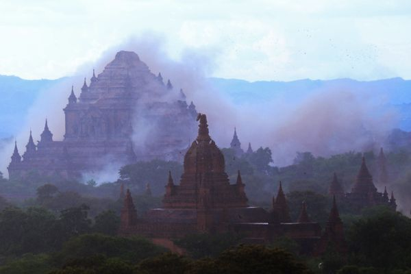 The ancient Sulamuni temple is seen shrouded in dust as a 6.8 magnitude earthquake hit Bagan on August 24, 2016.