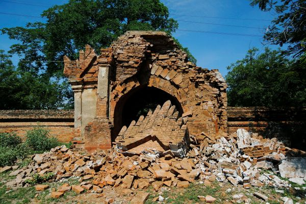 The entrance of a collapsed pagoda is seen after an earthquake in Bagan, Myanmar August 25, 2016.