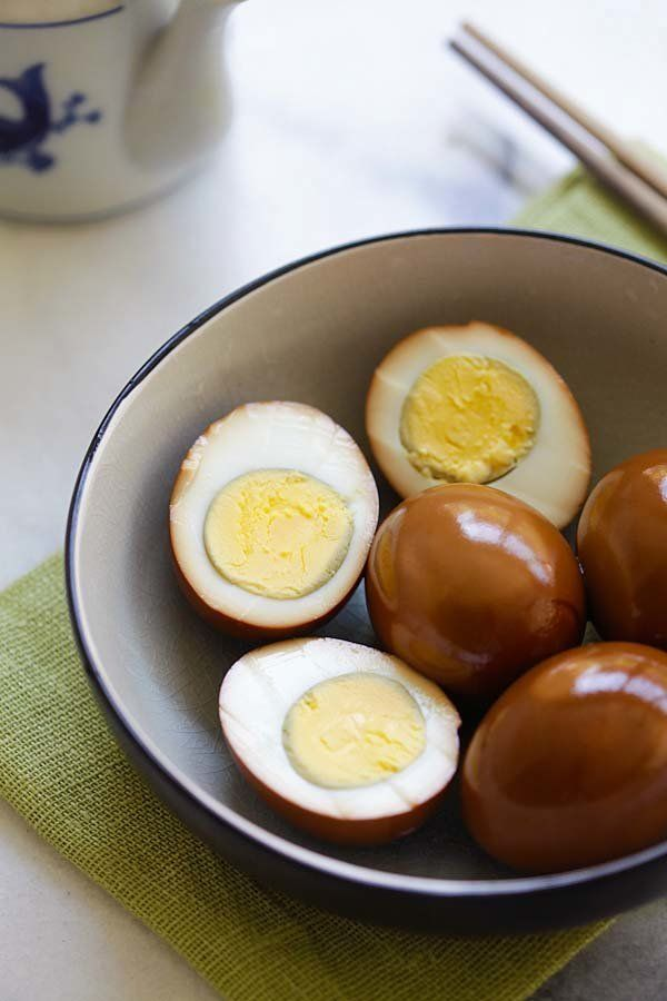 Soy sauce eggs.