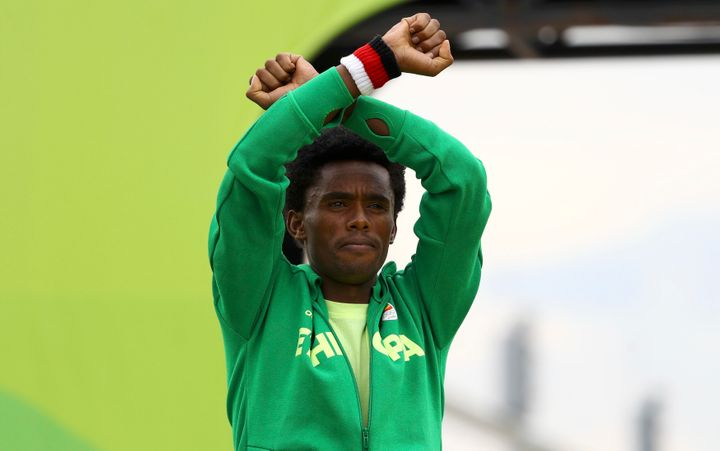 Feyisa Lilesa of Ethiopia used the Olympics to stage a daring protest against his country's repressive government.