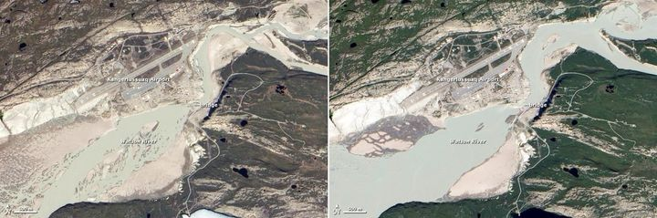 left The Watson River flows through the town of Kangerlussuaq Greenland Photo taken on May 31 2012 NASA right The water level